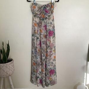 H&M floral print strapless maxi dress